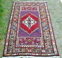 Turkish Vintage Rug Natural Wool Hand Knotted High Quality Anatolian Rug 3x6 ft.
