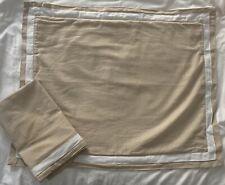 Linen Blend Beige Standard Pillow Shams Contrast White Border Textured