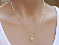 Women Lady Imitation Pearl Boho Bohemian Simple 2 Layers Silver color Necklace