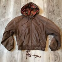 Vintage Adventure Bound Hooded Leather Jacket Women's Size Small Brown