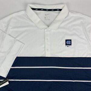 Nike UNC North Carolina Tarheels Striped Polo Shirt Mens 2XL Blue White NWT