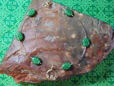 "Claddaugh Illusion Anklet Green 10"" 22k Gold Plated Irish Shamrock Claddagh"