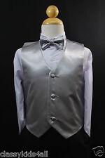Wedding Party Silver VEST + BOW TIE Neck for Boy & Children Suits Tuxedo Sz S-28