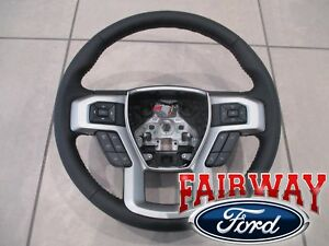 17 thru 21 Super Duty F250 F350  OEM Ford Black Leather Steering Wheel w/ Cruise