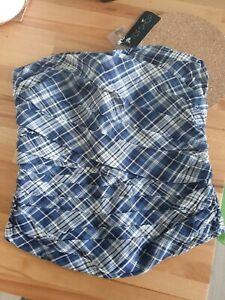 New Topshop Size 8 Strapless Blue Check Tartan Corset