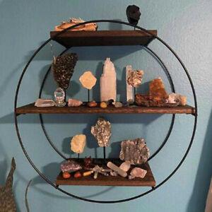 Antique Ring Wood Floating Shelves Wall Display Shelf w/ Heavy Duty Metal Frame