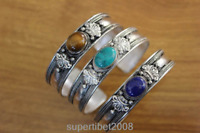 BR038 Ethnic Tibetan Silver Turquoise Lapis Stone 13mm Wide Bangle Bracelets
