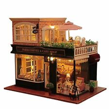 Wooden Handmade Dollhouse Cafe Miniature Doll House Furniture Set DIY Toy Hobby