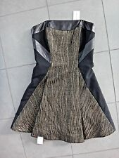 Milly Strapless Corset Dress Fit and Flare Gold Black Leather Trim sz.0 NWT