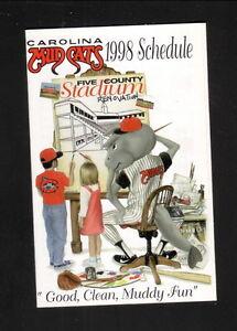 Carolina Mudcats--1998 Pocket Schedule--Plantation Inn--Pirates Affiliate