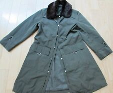POLO RALPH LAUREN RAIN BARN CHORE GARDEN COAT REMOVABLE COLAR GREEN BROWN