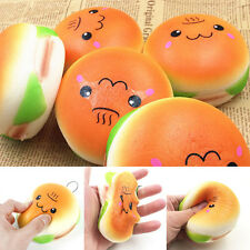 10cm Cute Jumbo Hamburger Squishy Soft Buns Cell Phone Key Chain Bread Straps