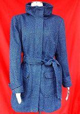 NWT attention lady women acrylic wool blend blue tweed outwear coat w/belt  sz-L