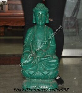 "24""Antiques Temple Old Green jade Stone Carving Sakyamuni Medicine buddha Statue"