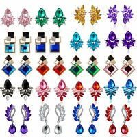 Fashion Wedding Women Crystal Rhinestone Ear Stud Drop Dangle Earrings Jewelry