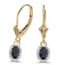 14k Yellow Gold Oval Sapphire and Diamond Leverback Earrings