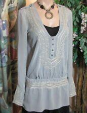 PATRIZIA PEPE (Size 44/L)100%SILK.Blouse-Tunic.Rustic style.Gray.Gold Embroidery