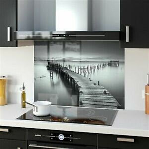 Splashback Kitchen Tempered Glass Heat-Res ANY SIZE Wooden Pier Lake 91735833n
