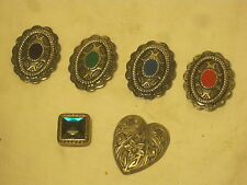 vintage button cover 6 covers ornate metal heart Western style + mixed lot