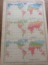1942 Vintage John Bartholomew Atlas Map 14.75� World temperature
