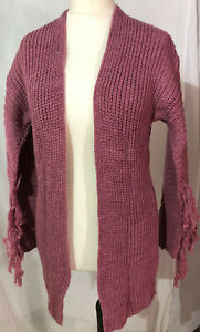Womens Ladies Knitted Cardigan Open Front Jumper Long Sleeves 2411Dark Pink new