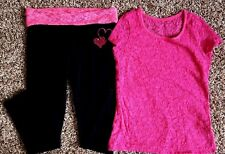 Girl's Size 10/12 2 Pc SO Pink Floral Lace Top & Black Heart Sequined Leggings