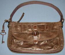 Fossil Long Live Vintage Brown Leather & Canvas Hobo Purse Handbag ** Unused New