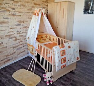 Babyzimmer Kinderzimmer Komplett Set Babybett Gitterbett 5 Farben Schrank Massiv