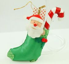 Vintage Green Stocking Candy Cane Christmas Ornament Holiday Tree Decoration