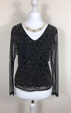 JACQUES VERT Size Large Black Embellished Stretch Top Sheer Net Sleeves Beaded