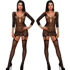 Sexy Women Black Long Sleeve Lingerie Lace Underwear Inimate  Sleepwear jumpsuit