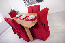 Set of 4 Red Linen Fabric Dining Chair Covers for Scroll Top High Back Leather