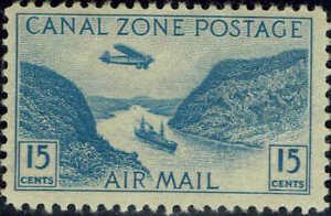 """CANAL ZONE #C10 1931 15c """"GAILLARD CUT"""" AIR MAIL ISSUE--MINT-OG/NH"""