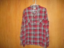 Vintage 60's Granella Rayon Gabardine Shadow Plaid Shirt Large