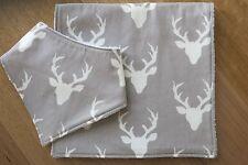Bib and burp cloth- Stag deer on mist grey