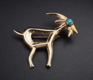 """Whimsical 14k Gold Turquoise Billy Goat Capricorn Pin Brooch 1.3"""" NR OG154"""