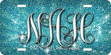 Monogram Initials Glitter Airbrush License Plate Blue design Car Auto Tag