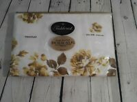 VTG Fieldcrest Twin Flat Percale Sheet Duracale Flowers Queens Garden NOS 72x108