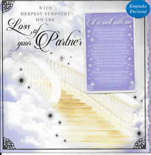 DEEPEST SYMPATHY,  LOSS OF YOUR PARTNER CARD,WITH SENTIMENTAL KEEPSAKE CARD(S2