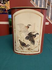 Vintage Tin Garbage Can Hunting Scene Quail
