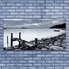 Acrylglasbilder Wandbilder Druck 140x70 Meer Strand Steine Landschaft