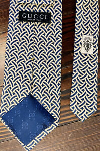 Authentic Gucci 100% Silk Men's Tie White/Gold And Blue Made In Italy