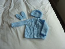 New Hand Knitted Newborn Baby  Cardigan Hat & Mittens Set Colour Blue