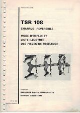 Ransomes TSR108 Reversible Plough Operators Instructions Parts List FRENCH 4460F