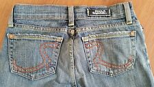 Rock & Republic ROTH Jeans size 25 x 33 LONG Flare Orange Accents