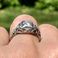 Edwardian 18K White Gold Filigree Diamond Art Deco Engagement Navette Ring 5.25