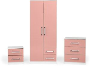 Jasper Bedroom Set White and Pink Gloss Bedside 4 Drawer chest  wordrobe