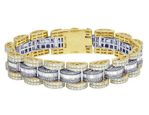 14K Yellow/ White Baguette Real Diamond Presidential Style Bracelet 17MM 21.3...