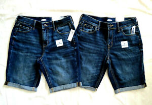 2 pairs of Old Navy Mid Rise Bermuda Blue Jean Shorts NEW WITH TAGS Sz 0