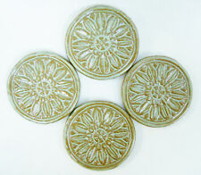 FLORAL MEDALLION TILES Handmade Ceramic Stoneware Craft Tiles  Turquoise Set / 4